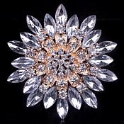 Bridal Rhinestone Brooch Floral Crystal Gold Starburst Pin (GB607)