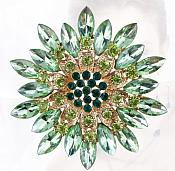 Bridal Rhinestone Brooch Floral Green Gold Starburst Pin (GB607)