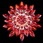 Bridal Rhinestone Brooch Floral Red Gold Starburst Pin (GB607)