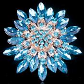 Bridal Rhinestone Brooch Floral Turquoise Gold Starburst Pin (GB607)