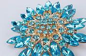 Bridal Rhinestone Brooch Floral Turquoise Gold Starburst Pin (GB607)