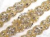 """Gold Bridal Sash Applique w/ Beads and Pearls Surrounding Crystal Rhinestones 37.5"""" (GB610)"""