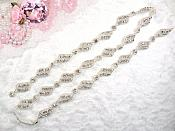 Crystal Rhinestone Silver Beaded Elegant Sewing or Crafts Trim (GB611-slcr)