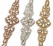 "Gold Bridal Sash Applique w/ Matching Beads Surrounding Crystal Rhinestones 36"" (GB613)"