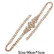 "Gold Bridal Sash Applique w/ Matching Beads Surrounding Crystal Rhinestones 36"" (GB613)"