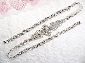 "Silver Bridal Sash Applique w/ Matching Beads Surrounding Crystal Rhinestones 36"" (GB613)"