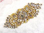"Crystal Rhinestone Gold Applique 4.5"" (GB614)"