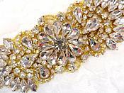 """Crystal Rhinestone Gold Applique 4.5"""" (GB614)"""