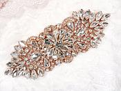 "Crystal Rhinestone Rose Gold Applique 4.5"" (GB614)"