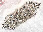 "Crystal Rhinestone Silver Applique 4.5"" (GB614)"