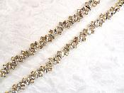 Marquise Crystal Rhinestones in Gold Settings Elegant Bridal or Sewing Trim (GB615)
