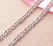 Rose Gold Trim Endless Crystal Rhinestones in Rose Gold Settings Marquis Stones Perfect Bridal Straps or Sash GB615