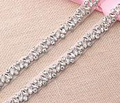 REMNANT 31 inches Crystal Rhinestones in Silver Settings Elegant Sewing Bridal Trim RMGB615