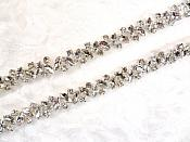 Crystal Rhinestones in Silver Silver Settings Elegant Sewing Bridal Trim (GB615)