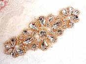 "Crystal Rhinestone Rose Gold Pearl Beaded Applique 4"" (GB616)"
