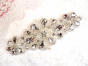 """Crystal Rhinestone Silver Pearl Beaded Applique 4"""" (GB616)"""