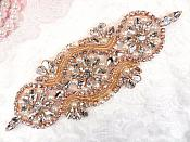 "Crystal Rhinestone Rose Gold Pearl Beaded Applique 6.25"" (GB617)"