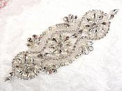 "( RESERVED FOR KAREN)Crystal Rhinestone Silver Pearl Beaded Applique 6.25"" (GB617)"