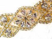 """Crystal Rhinestone Gold Applique 3.75"""" (GB618)"""