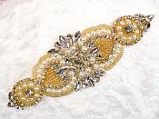 "Crystal Rhinestone Gold Pearl Beaded Applique 6.75"" (GB619)"