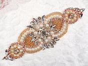 "Crystal Rhinestone Rose Gold Pearl Beaded Applique 6.75"" (GB619)"