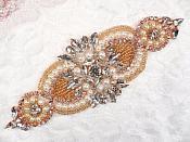 "Crystal Rhinestone Rose Gold Pearl Beaded Applique 6.75"" (GB619)"