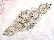 """Crystal Rhinestone Silver Pearl Beaded Applique 6.75"""" (GB619)"""