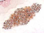 "Crystal Rhinestone Rose Gold Pearl Beaded Applique 5.25"" (GB620)"