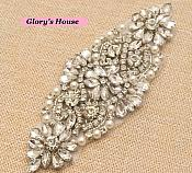 "Crystal Rhinestone Applique Silver Beaded w/ Pearls for Bridal Accessories 5.25"" (GB620)"