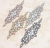"""Silver Setting Applique Crystal Clear Glass Rhinestones Bridal Sash Patch 10"""" (GB621)"""