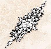"""Black Setting Applique Crystal Clear Glass Rhinestones Bridal Sash Patch 10"""" (GB621)"""