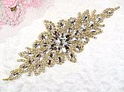 "(REDUCED) Crystal Rhinestone Gold Applique 10"" (RMGB621)"