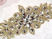 """(REDUCED) Crystal Rhinestone Gold Applique 10"""" (RMGB621)"""