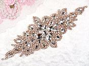 """Crystal Rhinestone Rose Gold Applique 10"""" (GB621)"""