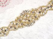 """Gold Bridal Sash Applique w/ Matching Beads and White Pearls Surrounding Crystal Rhinestones 14"""" (GB622)"""
