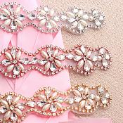"""Rose Gold Bridal Sash Applique w/ Beads and Pearls Surrounding Crystal Rhinestones 14"""" (GB622)"""