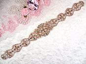 "Rose Gold Bridal Sash Applique w/ Beads and Pearls Surrounding Crystal Rhinestones 14"" (GB622)"