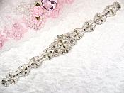 "Silver Bridal Sash Applique w/ Matching Beads and Pearls Surrounding Crystal Rhinestones 14"" (GB622)"