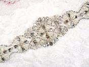 """Silver Bridal Sash Applique w/ Matching Beads and Pearls Surrounding Crystal Rhinestones 14"""" (GB622)"""