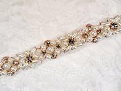 Rose Gold Pearl Trim Crystal Rhinestones Rose Gold Settings Bridal Sash Belt DIY  (GB623)