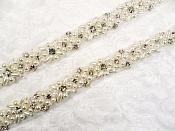 REMNANT Crystal Rhinestone Silver Pearl Trim RMGB623