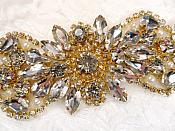 """Crystal Rhinestone Gold Pearl Applique 4.75"""" (GB624)"""