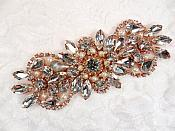 "Crystal Rhinestone Rose Gold Pearl Applique 4.75"" (GB624)"