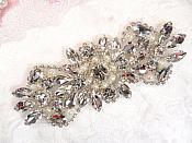 """Crystal Rhinestone Silver Pearl Applique 4.75"""" (GB624)"""