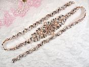 "Rose Gold Bridal Sash Applique w/ Beads and Pearls Surrounding Crystal Rhinestones 33"" (GB625)"
