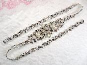 "Silver Bridal Sash Applique w/ Beads and Pearls Surrounding Crystal Rhinestones 33"" (GB625)"