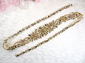 "Gold Bridal Sash Applique w/ Crystal Rhinestones 36"" (GB626)"