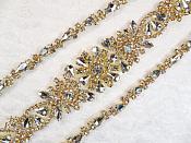 """Gold Bridal Sash Applique w/ Crystal Rhinestones 36"""" (GB626)"""
