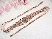 "Rose Gold Bridal Sash Applique w/ Beads Surrounding Crystal Rhinestones 36"" (GB626)"