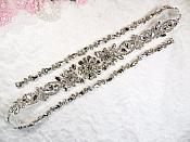 "Silver Bridal Sash Applique w/ Crystal Rhinestones 36"" (GB626)"